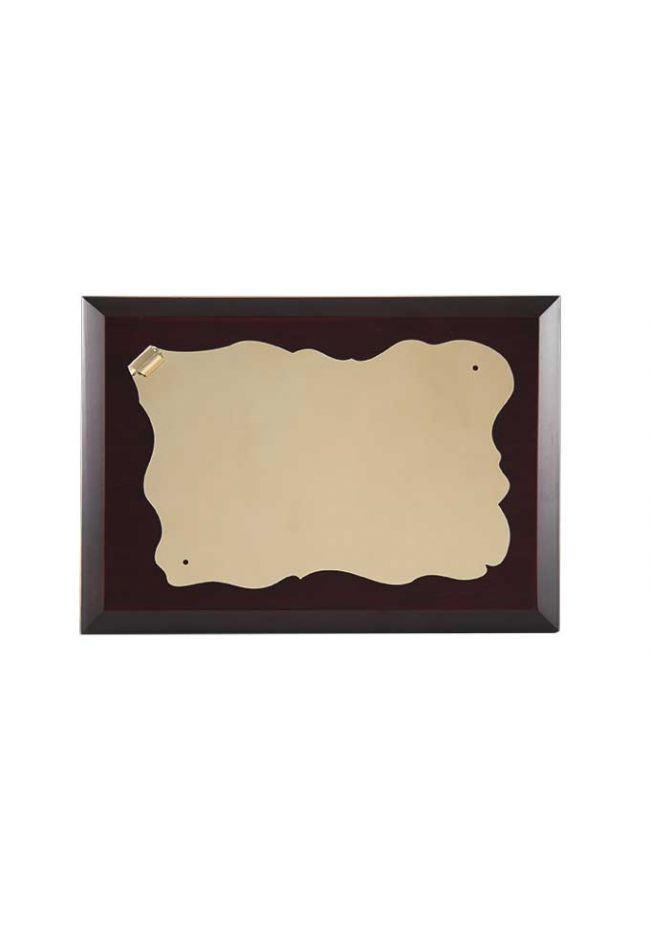 Placa de homenaje económica forma pergamino dorado