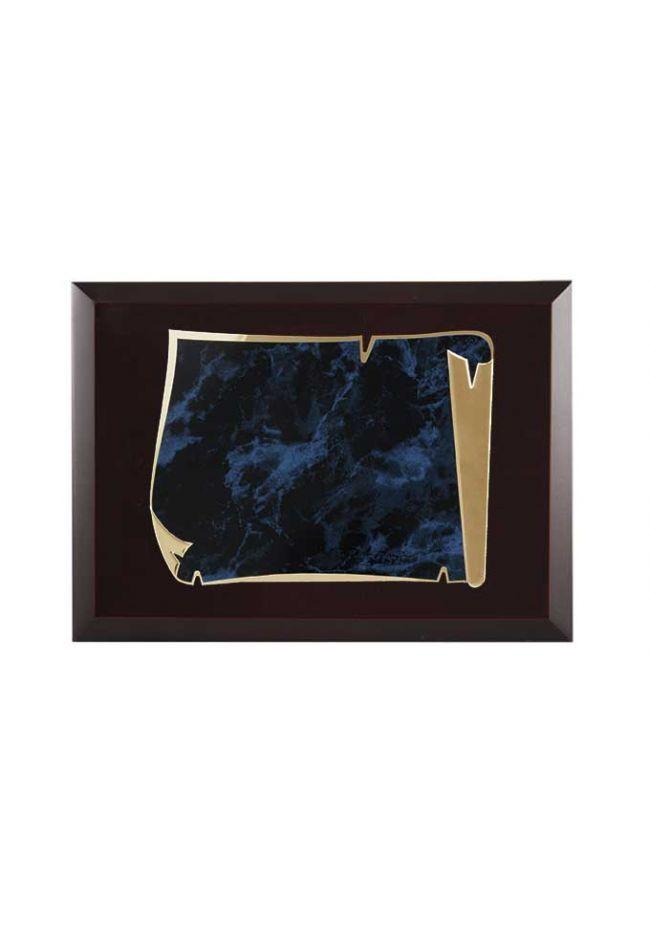 Placa de homenaje económica forma pergamino borde dorado aluminio fondo azul-negro