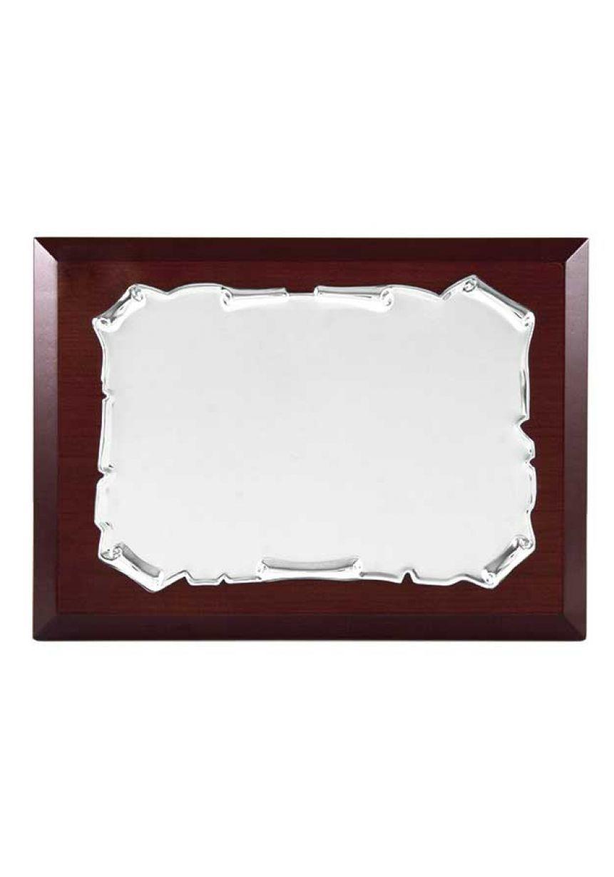 Placa de homenaje comercial pergamino bordes enrollados plateado