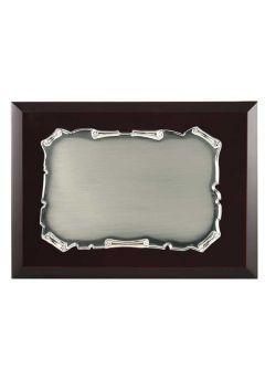 Placa de homenaje comercial pergamino metal oscurecido