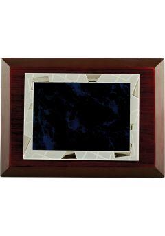 placa de homenaje comercial rectangular de aluminio fondo azul negro 11