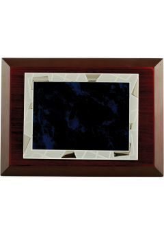 Placa de homenaje comercial rectangular de aluminio fondo azul-negro