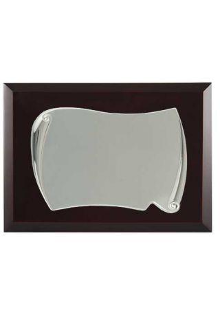placa de homenaje comercial rectangular de aluminio con forma pergamino lateral redondo