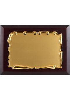 Placa de homenaje comercial de metal con forma pergamino-1
