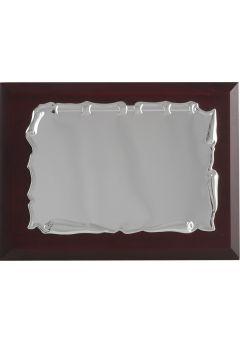 Placa de homenaje comercial de metal con forma pergamino redondo