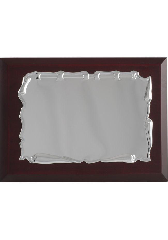 Comercial em forma de placa de metal tributo pergaminho rodada