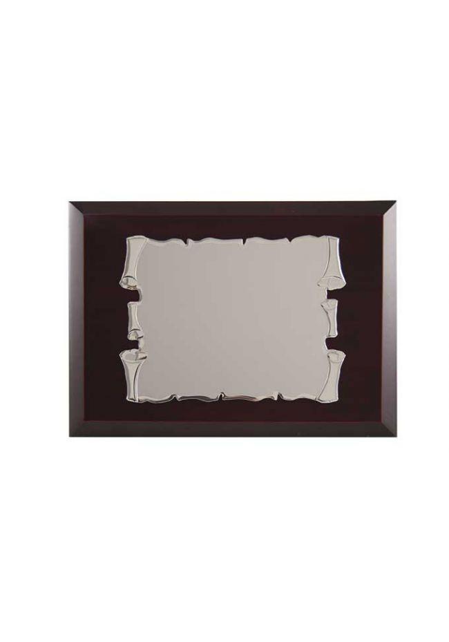 Placa de homenaje comercial de aluminio con forma pergamino