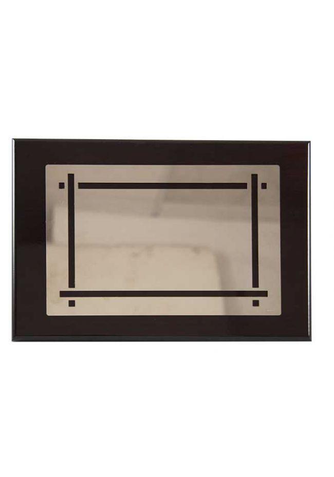 Placa de homenaje de alpaca con forma rectangular y detalle marco encuadrado