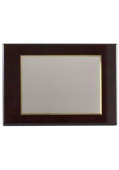 Placa de homenaje bañado en plata con forma rectangular y marco biselado