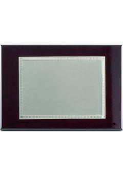 Placa de homenaje bañado en plata con forma rectangular y marco labrado