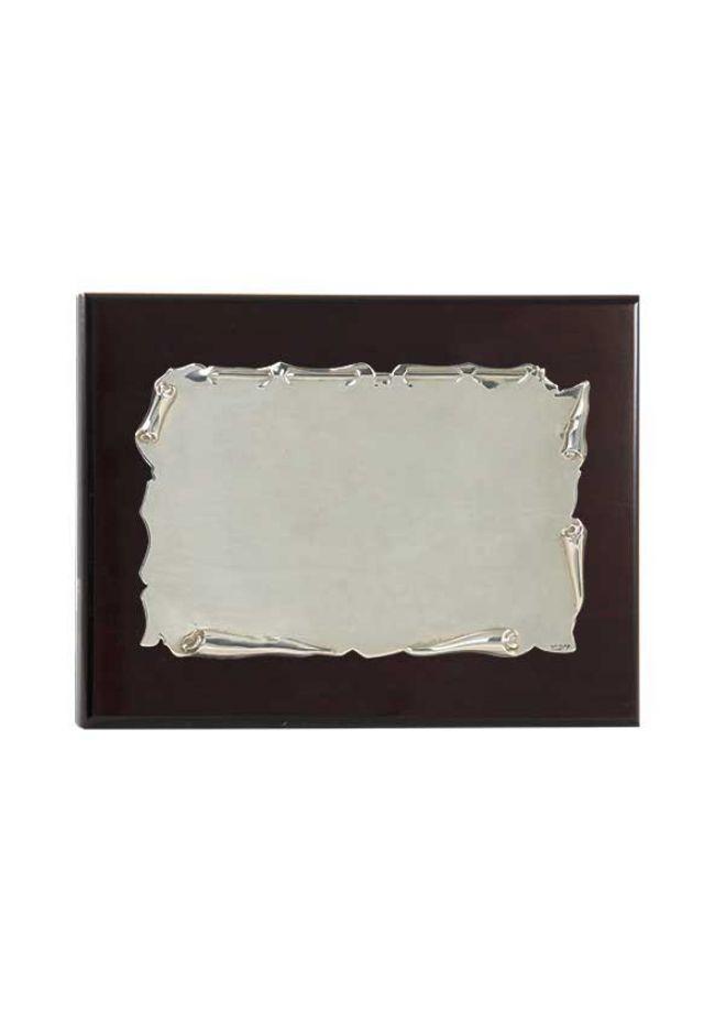 Placa de homenaje plata de ley con forma pergamino