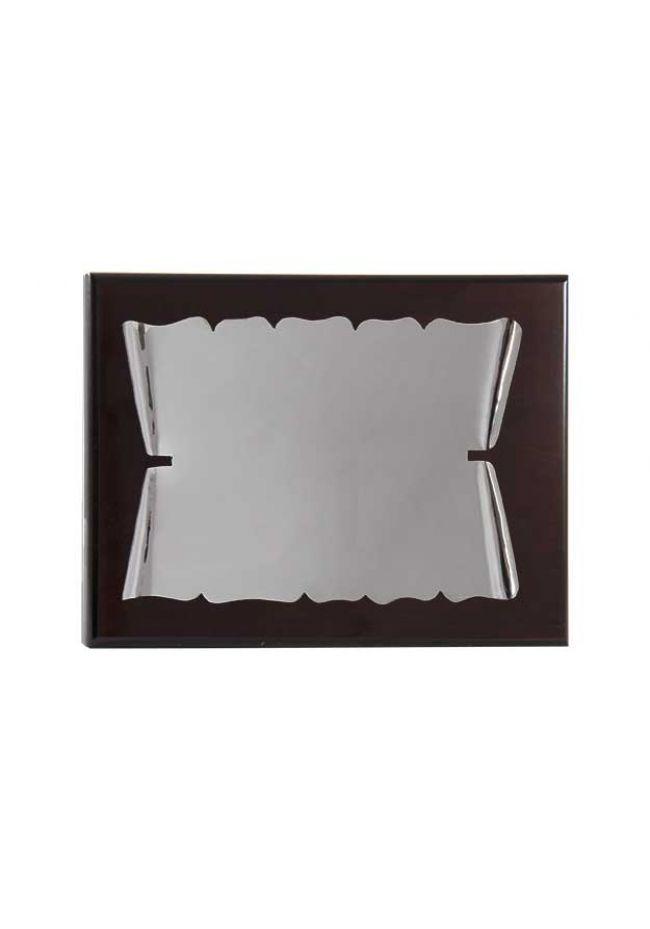 Placa de homenaje plata de ley con forma de pergamino enrollado