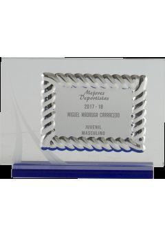 placa de homenaje cristal en forma rectangular con marco labrado y columna plateada en el lateral 10
