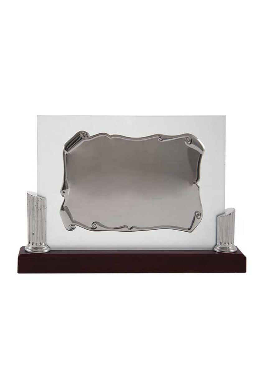 A forma di pergamena lastra di vetro omaggio con due barre laterali