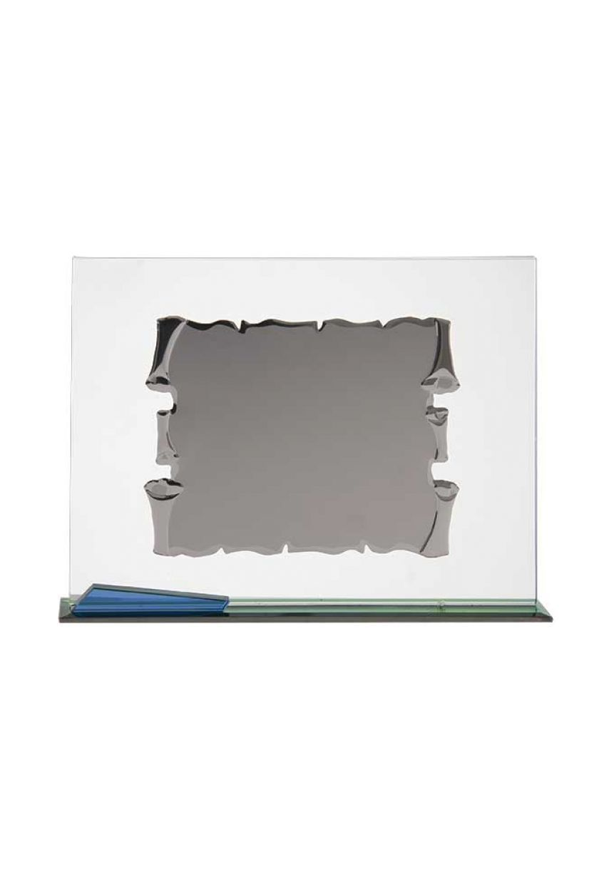 Placa homenaje cristal en forma pergamino rectangular
