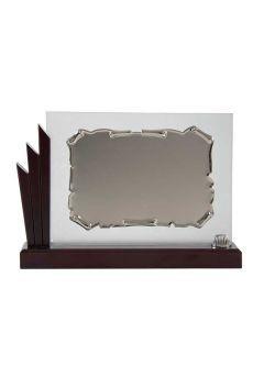 Placa de homenaje cristal en forma de pergamino