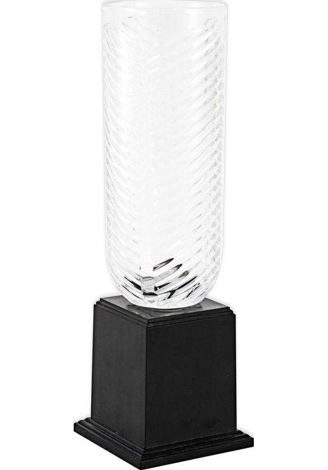 Trofeo jarrón labrado redondo de cristal