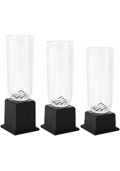 Trofeo jarrón labrado redondo de cristal Thumb