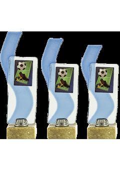 Trofeo cristal deportivo rectángulo detalle onda azul
