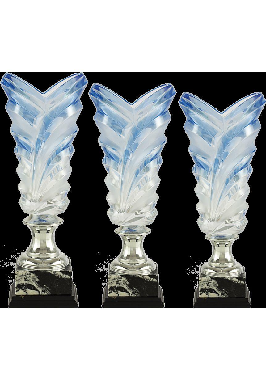 Trofeo copa jarrón cristal labrado azul