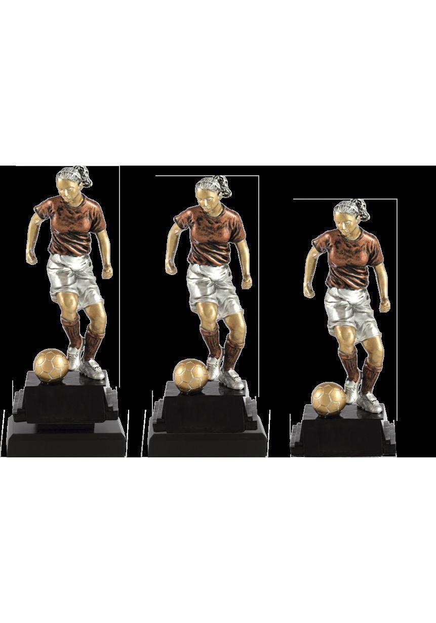 Trofeo de fútbol con figura femenina