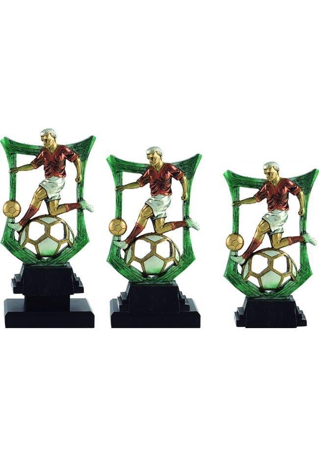 Trofeo de futbol con figura y marco verde