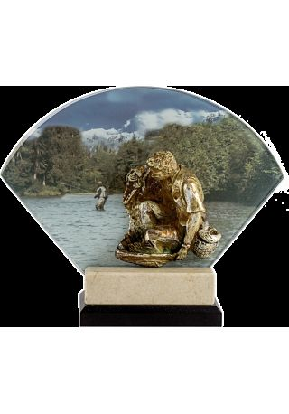 Trofeo abanico cristal/resina pesca