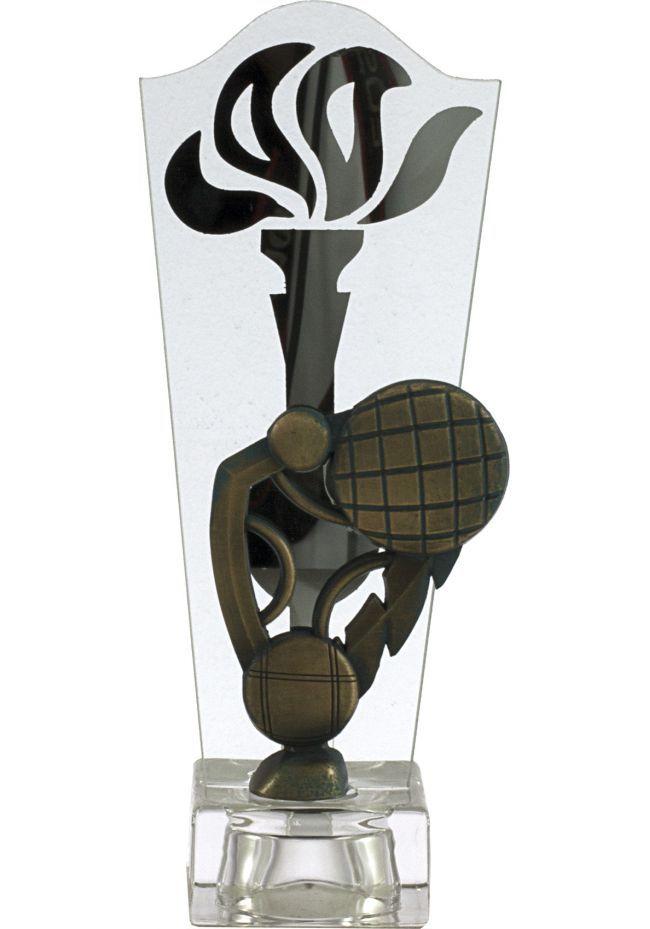 Trofeo antorcha cristal petanca