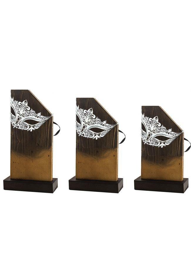 Trofeo madera antifaz